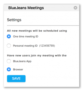 BlueJeans Browser Scheduling